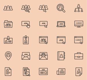 工作&职业主题矢量线性一流设计素材网精选图标 Jobs and Careers Vector Icons插图(1)