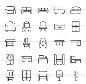 50枚家具系列线性一流设计素材网精选图标 II 50 Furniture Line Icons Season II插图(2)