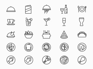 25枚餐厅菜单设计 可用的矢量线性一流设计素材网精选图标 25 Restaurant Menu Icons插图(2)