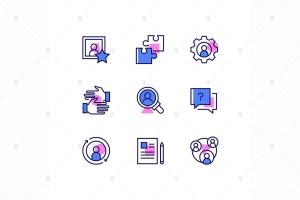 商业和管理主题线条设计风格矢量一流设计素材网精选图标 Business and management – line design style icons插图1