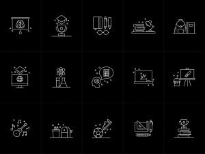 15枚教育培训主题矢量线性一流设计素材网精选图标 15 Education Vector Icons插图1