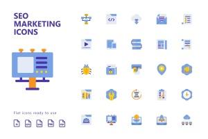 25枚SEO搜索引擎优化营销扁平化矢量一流设计素材网精选图标v1 SEO Marketing Flat Icons插图2