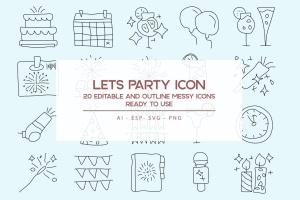 20枚活动派对主题手绘设计风格矢量线性一流设计素材网精选图标 Lets Party Outline Icons Set插图(1)