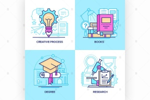 商业&在校教育主题矢量一流设计素材网精选图标 Business and online education – set of icons插图1