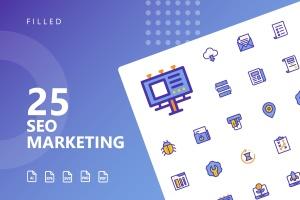 25枚SEO搜索引擎优化营销矢量填充一流设计素材网精选图标v1 SEO Marketing Filled Icons插图1