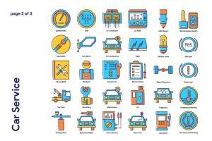 70枚汽车服务主题填色线性一流设计素材网精选图标 Car Service Icon Set插图3