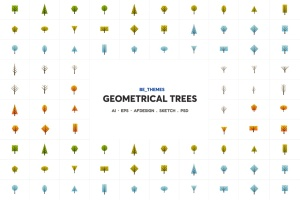 树木几何图形一流设计素材网精选图标矢量设计模板 Geometrical Trees Icon Template插图1