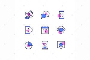 商业与管理线条设计风格矢量一流设计素材网精选图标v1 Business and management – line design style icons插图1