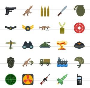 50枚军队装备主题扁平化多彩矢量一流设计素材网精选图标 II 50 Military Flat Multicolor Icons Season II插图2