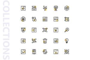 25枚SEO搜索引擎优化营销矢量圆点装饰一流设计素材网精选图标v2 SEO Marketing Shape Icons插图4