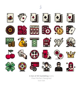 30枚赌博&博彩主题矢量填充色一流设计素材网精选图标 30 Gambling Icons插图2