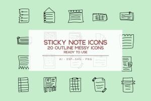便笺手绘草图矢量轮廓一流设计素材网精选图标 Outline Sticky Note Icons set插图1