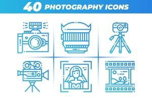 40枚摄像摄影主题矢量线性一流设计素材网精选图标 40 Photography Icons插图1