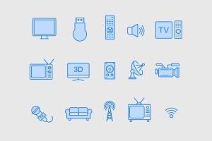 15枚TV&电视设备矢量线性一流设计素材网精选图标 15 TV & Television Icons插图2