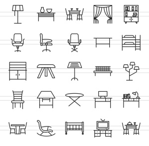 50枚家具系列线性一流设计素材网精选图标 II 50 Furniture Line Icons Season II插图3