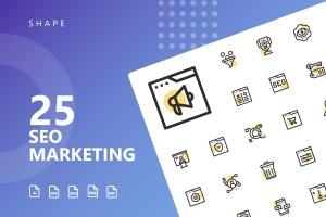 25枚SEO搜索引擎优化营销矢量圆点装饰一流设计素材网精选图标v2 SEO Marketing Shape Icons插图1
