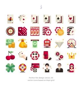 30枚赌博&博彩主题扁平设计风格一流设计素材网精选图标 30 Gambling Icons – Flat插图2