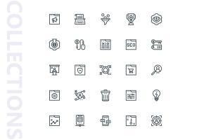 25枚SEO搜索引擎优化营销矢量线性一流设计素材网精选图标v2 SEO Marketing Line Icons插图4