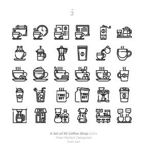 30枚咖啡/咖啡店矢量一流设计素材网精选图标素材 30 Coffee Shop Icons插图3