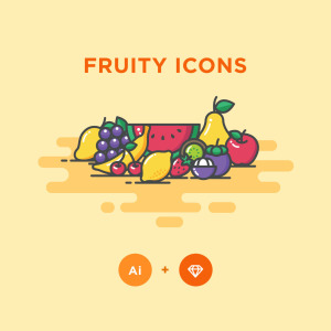 12枚常见水果矢量彩色一流设计素材网精选图标 12 Colored Fruit Icons – Illustrator & Sketch插图(1)