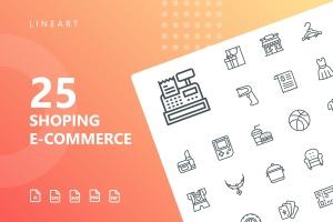 25枚网上购物电子商务矢量线性一流设计素材网精选图标v2 Shopping E-Commerce Line Icons插图1