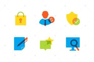 商业&安全主题扁平设计风格矢量一流设计素材网精选图标集 Business and safety – flat design style icons set插图2