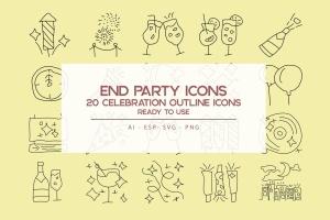 20枚跨年主题矢量轮廓一流设计素材网精选图标 End Time Outline Icons Set插图1