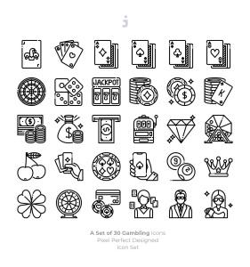 30枚赌博&博彩主题矢量填充色一流设计素材网精选图标 30 Gambling Icons插图3