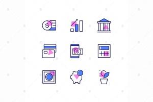 商业&金融主题线性设计风格矢量一流设计素材网精选图标 Business and finance – line design style icons set插图1