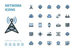 网络科技主题矢量填充一流设计素材网精选图标 Network Filled Icons插图2