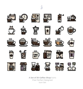 30枚咖啡/咖啡店矢量一流设计素材网精选图标素材 30 Coffee Shop Icons插图2