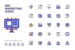 25枚SEO搜索引擎优化营销矢量填充一流设计素材网精选图标v1 SEO Marketing Filled Icons插图2