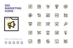 25枚SEO搜索引擎优化营销矢量圆点装饰一流设计素材网精选图标v2 SEO Marketing Shape Icons插图2