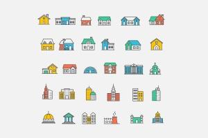 20枚房子&建筑主题矢量线性一流设计素材网精选图标 20 House & Building Icons插图2