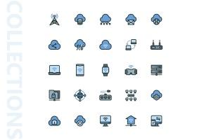 网络科技主题矢量填充一流设计素材网精选图标 Network Filled Icons插图4