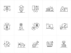 15枚教育培训主题矢量线性一流设计素材网精选图标 15 Education Vector Icons插图2