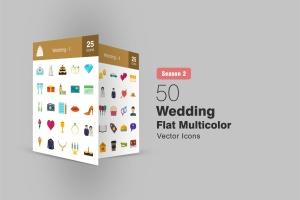 50枚婚礼婚宴主题扁平设计风彩色一流设计素材网精选图标 II 50 Wedding Flat Multicolor Icons Season II插图1