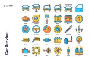 70枚汽车服务主题填色线性一流设计素材网精选图标 Car Service Icon Set插图2