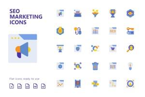 25枚SEO搜索引擎优化营销扁平化矢量一流设计素材网精选图标v2 SEO Marketing Flat Icons插图2