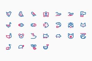 25枚动物简笔画图形矢量一流设计素材网精选图标v2 Animals #2插图2
