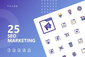 25枚SEO搜索引擎优化营销矢量填充一流设计素材网精选图标v2 SEO Marketing Filled Icons插图1