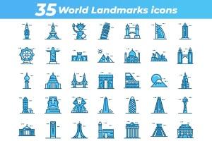 35枚世界地标主题矢量一流设计素材网精选图标 35 World Landmarks Icons插图2