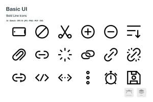基础UI设计操作选项矢量线性一流设计素材网精选图标 Basic User Interface Mini Bold Line Vector Icons插图3