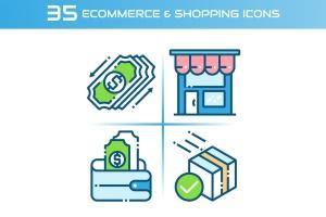 35枚电子商务&购物主题矢量一流设计素材网精选图标 E-commerce and Shopping Icons插图1
