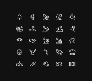 25枚沙漠主题矢量线性一流设计素材网精选图标 25 Desert Line Vector Icons插图(2)