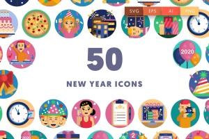 50枚新年主题圆形矢量一流设计素材网精选图标素材 New year icons插图1