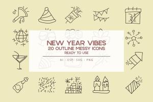 新年主题氛围实物轮廓一流设计素材网精选图标素材 New Year Vibe Outline Icon Set插图(1)