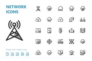 网络科技主题矢量阴影一流设计素材网精选图标 Network Shady Icons插图(3)