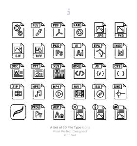 30种文件格式矢量一流设计素材网精选图标 30 File Type Icons插图3