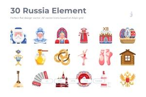 30枚扁平设计风格俄罗斯民族元素矢量一流设计素材网精选图标 30 Russia Element Icons – Flat插图1